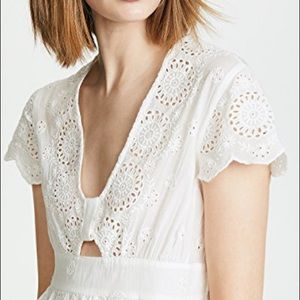 Free people truly yours ivory cut-out eyelet top